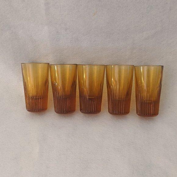 Amber Cordial Shot Glasses Set 5 Vintage